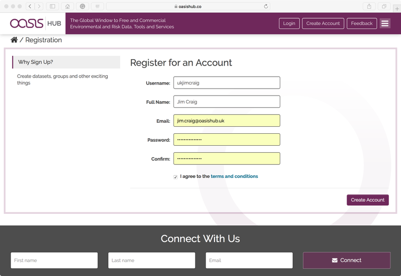 Register Account dialogue